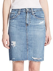 Ag Adriano Goldschmied The Erin Distressed Denim Pencil Skirt Blue