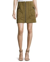 Veronica Beard Linda Full Zip Summer Cargo Skirt Olive