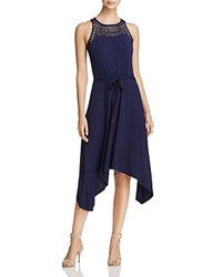 Design History Lace Yoke Belted Dress Nautica Blue