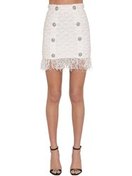 Balmain Fringed Lurex Tweed Mini Skirt White
