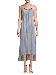 Saks Fifth Avenue Stripe Cotton Maxi Dress Grey
