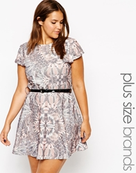 Club L Plus Size Belted Waffle Skater Dress Transitionaltropica