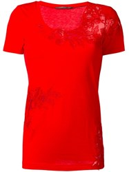 Ermanno Scervino Lace Detailing T Shirt Red