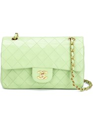 Chanel Vintage Small Double Flap Shoulder Bag Green