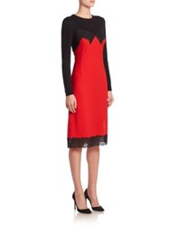 Altuzarra Debbie Knit Silk Lingerie Long Sleeve Dress Scarlet