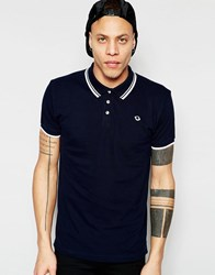 D Struct Planet Logo Tipped Polo Shirt Navy
