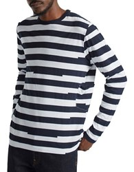 French Connection Striped Colorblocked Tee White Marine Blue