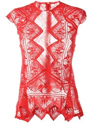 Jonathan Simkhai Sheer Lace Top Red