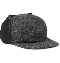 Beams Plus Quilted Twill And Harris Tweed Trapper Hat Gray