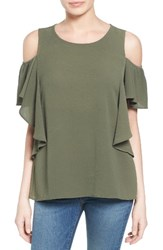 Bobeau Women's Cold Shoulder Ruffle Sleeve Top Olive Sarma