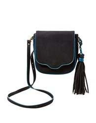 Steve Madden Flapover Fringed Crossbody Bag Black