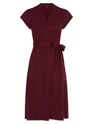 Hotsquash Cap Sleeve Wrap Dress In Unique Fabric Burgundy