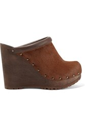 See By Chloe Leather Trimmed Calf Hair Wedge Clogs Brown