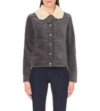 Free People Sherpa Collar Corduroy Jacket Blue Spruce