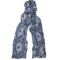 Junya Watanabe Printed Silk And Linen Blend Scarf Blue