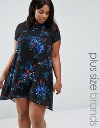 Ax Paris Plus Swing Dress With Sheer Insert In Floral Print Black