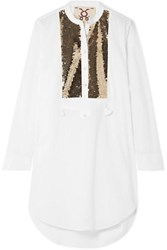 Figue Thalie Sequined Paneled Cotton Voile Tunic White