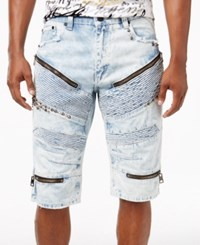 Heritage America Men's Studded Ripped Denim Shorts Bleached I