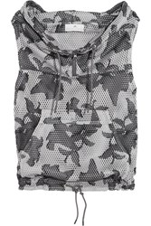 Adidas By Stella Mccartney Hooded Printed Mesh Vest Dark Gray