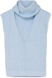 Jacquemus Cutout Ribbed Wool Blend Top Sky Blue