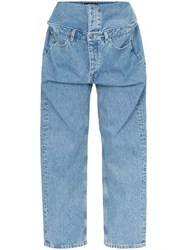 Y Project Wide Leg Double Layer Jeans Blue