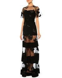 Valentino Netted Butterfly Silk Cady Gown Black