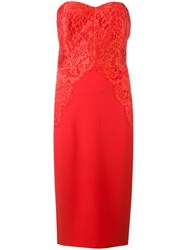 Rhea Costa Strapless Lace Cocktail Dress Women Silk Viscose 46 Red