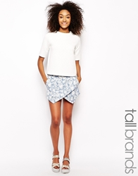 Girls On Film Tall Blue Leaf Print Skort