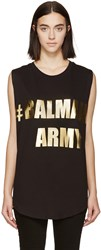 Balmain Black Sleeveless Logo T Shirt