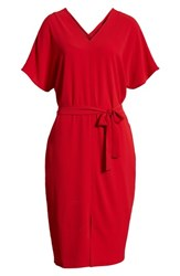 Bobeau Stretch Crepe Dress Red Tomato