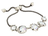 Kendra Scott Jodie Bracelet Antique Silver Clear Iridescent Glass Bracelet