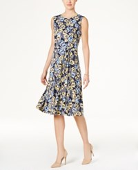 Charter Club Petite Belted Floral Print Fit And Flare Dress Only At Macy's Intrepid Blue Combo