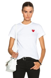 Comme Des Garcons Play Cotton Red Emblem Tee In White