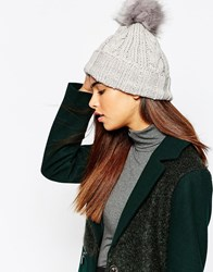 Warehouse Cable Knit Hat Grey