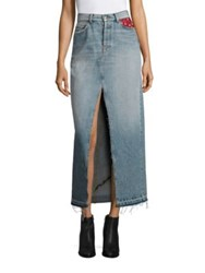 Tommy Hilfiger Collection Patchwork Denim Maxi Skirt Vintage Denim Multi