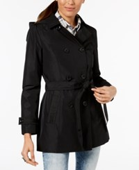 Celebrity Pink Juniors' Hooded Double Breasted Trench Coat Black