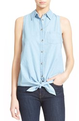 Women's Equipment 'Mina' Sleeveless Tie Front Chambray Shirt