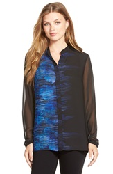 T Tahari 'Matisse' Print Sheer Sleeve Blouse Midnight