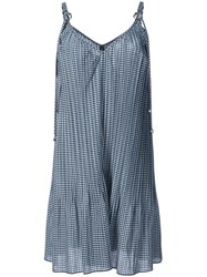 Adam Selman Gingham Pleated Dress Blue