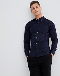 Selected Homme Slim Fit Button Down Collar Shirt With Faint Stripe Dark Navy