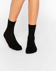 Asos Plain Rib Ankle Socks Black