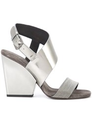 Brunello Cucinelli High Shine Trim Sandals Grey