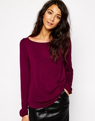 Esprit Long Sleeve Viscose Top Wine