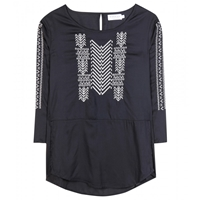Velvet Albany Embroidered Tunic Black