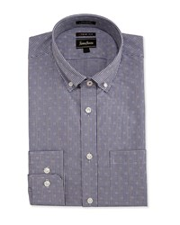 Neiman Marcus Trim Fit Regular Finish Gingham Dress Shirt Navy
