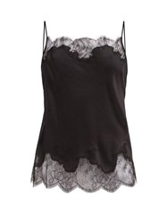Carine Gilson Lace Trimmed Silk Satin Camisole Black