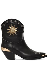 Fausto Puglisi 50Mm Studded Leather Cowboy Boots Black