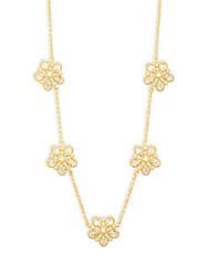 Freida Rothman Classic Cz And 14K Gold Plated Sterling Silver Floral Station Necklace