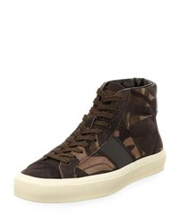 Tom Ford Cambridge Camouflage Suede High Top Sneaker Taupe