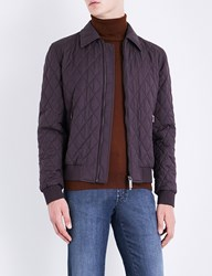 Brioni Wool And Silk Blend Bomber Jacket Burgandy